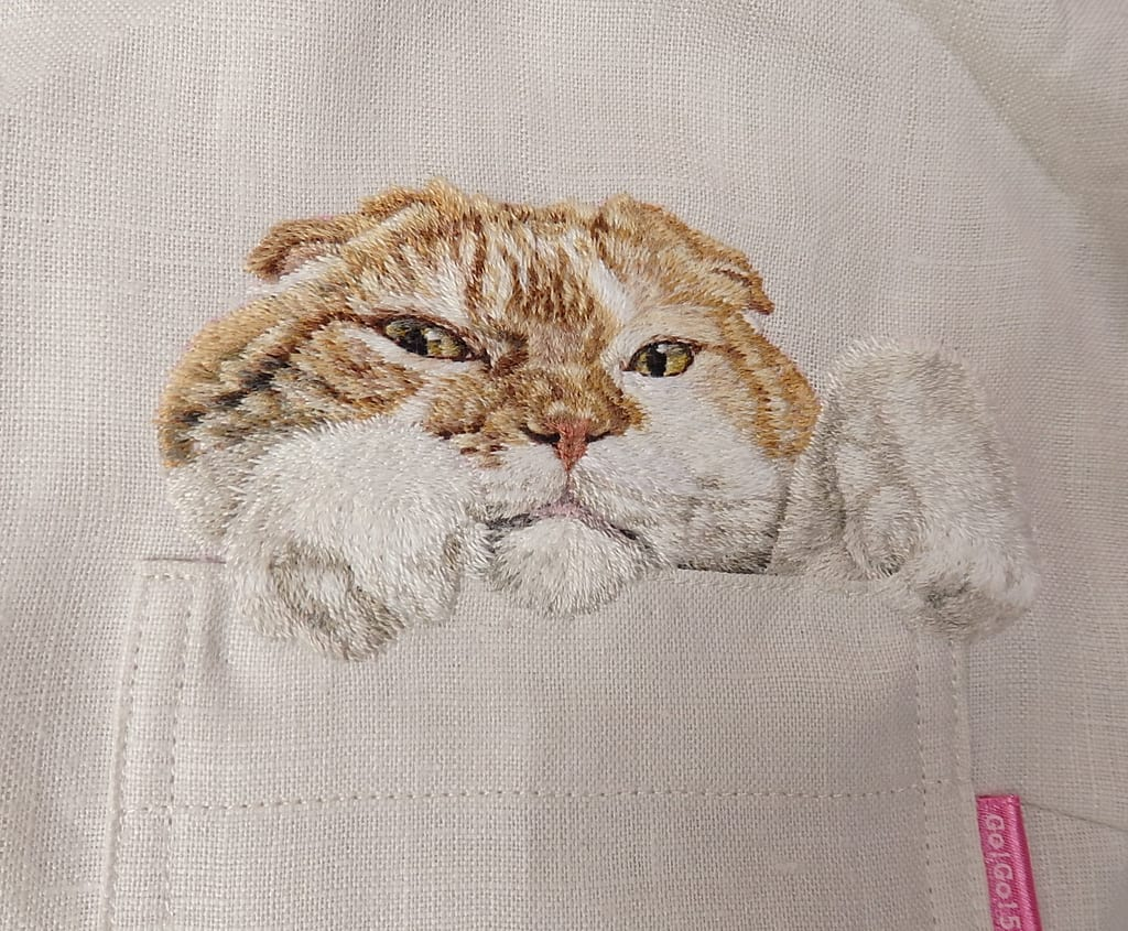 Surprisingly Realistic Embroidered Cat Shirts by Hiroko Kubota